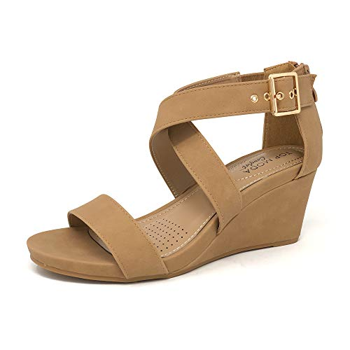 TOP Moda Evrard Comfort Line Women's Open Toe Buckled Ankle Strap Wedge Sandal (9 M US, ()