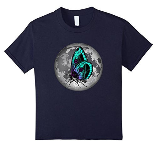 Kids The Butterfly And The Full Moon Graphic Art Tshirt 12 Navy