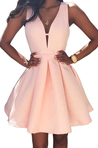 Women's V-Neck A-line Satin Homecoming Dress Short Formal Evening Party Gown Ruched Skirt Size 8 Blush Pink ()