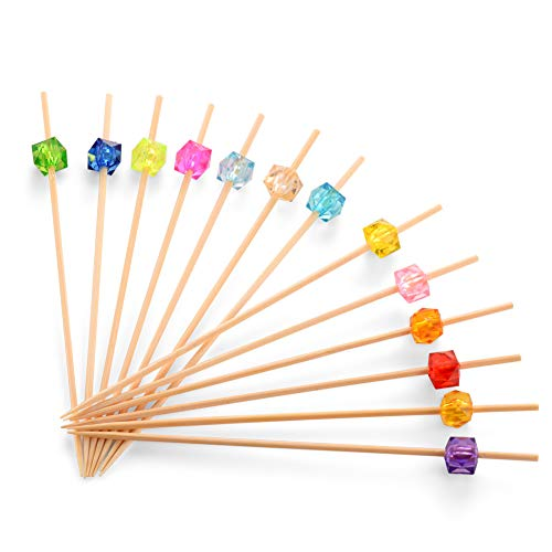 Bamboo Cocktail Toothpicks, Decorative Fruit Skewers of Wedding and Baby Shower. Cute Wooden Party Picks for Appetizer, Drink, Sandwich, and Cupcake. (Assorted Color Crystals, 4.7 Inch -100 Counts) -