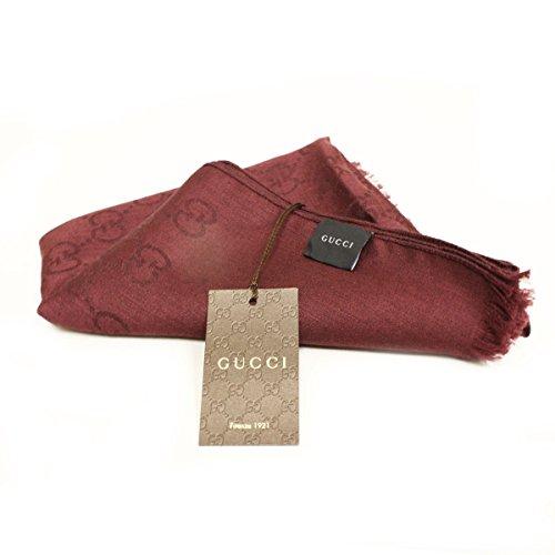 Gucci 362653 Gucci Burgundy Red Wool Silk Cashmere GG Logo Scarf Unisex (Logo Silk Scarf)