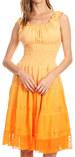 Peasant Dress - Sakkas 6741 Spring Maiden Ombre Peasant Dress - Tangerine - One Size