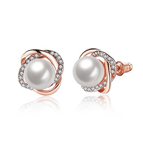 Rurah Women's Fashion Flowers Pearl Studs Earrings, Round Rose Studs Earrings For Teen Girls,Rose gold