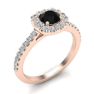 0.75 ct tw Black & White Diamond Cushion Halo Wedding Ring in 14K Rose Gold (Ring Size 5.5)
