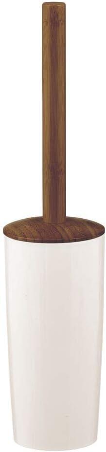 Compacto y moderno escobillero de pie blanco y marr/ón oscuro Portaescobillas de pl/ástico y bamb/ú mDesign Escobilla para inodoro con soporte independiente para ba/ño o aseo de invitados