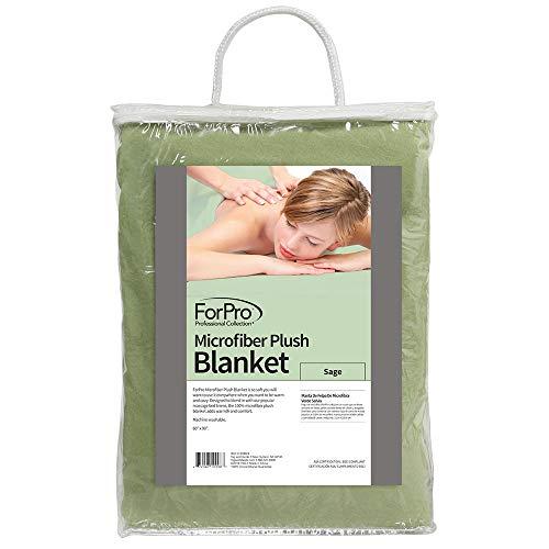 ForPro Microfiber Plush Blanket, Sage, Lightweight, 100% Microfiber, for Massage Tables, Beds, Sofas, 60