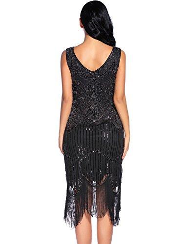 Flapper-Girl-Womens-Vintage-1920s-Sequin-Beaded-Tassels-Hem-Flapper-Dress