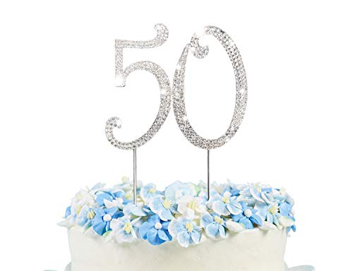 50 Cake Topper | Premium Bling Crystal Rhinestone Diamond Gems | 50th Birthday or Anniversary Party Decoration Ideas | Quality Metal Alloy | Perfect Keepsake ...]()