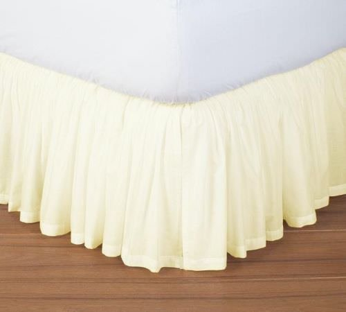 Hotel Quality 650TC Single Ply Egyptian cotton Full Size 1pc Split Corner Dust Ruffle Bed Skirt With 23 Inch Drop Length, Ivory Solid