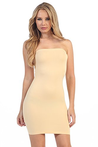 Kurve Strapless Stretchy Comfort Mini Sexy Tube Dress, UV Protective Fabric, Rated UPF 50+ (Made with Love in The USA) Nude