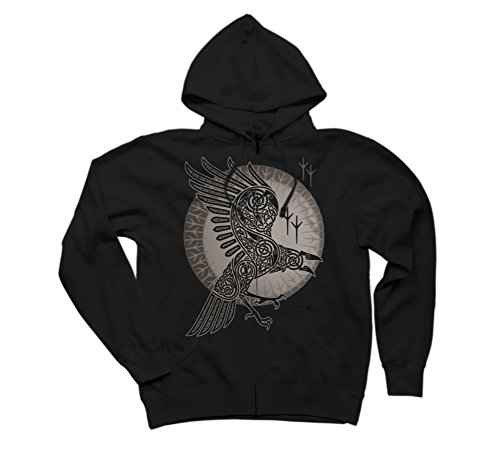 Design By Humans Raven Men's X-Large Black Graphic Zip Hoodie