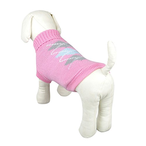 Product image of OutTop Dogs Cold Weather Knitted Turtle Neck 3D Patterns Sweater for Small-Sized Dogs Dachshund, Poodle, Pug, Chihuahua, Shih Tzu, Yorkshire Terriers, Papillon (S, Q_Pink)