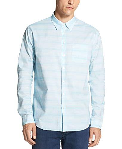 DKNY Light Mens Space Dyed Striped Button Up Shirt Blue XL