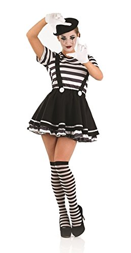 Pierrot Costume Uk (Parties Unwrapped Women's Pierrot Clown Mime Artiste Female Fancy Dres Costume Medium (UK 12-14) Black/White)