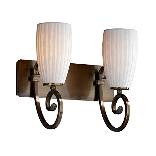 Brass Sconce Porcelain (Justice Design Group Limoges 2-Light Bath Bar - Antique Brass Finish with Waterfall Translucent Porcelain Shade)