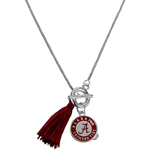 Alabama Crimson Tide Tassel and Logo Charm Toggle Necklace (Hanging Necklace Charm Logo)