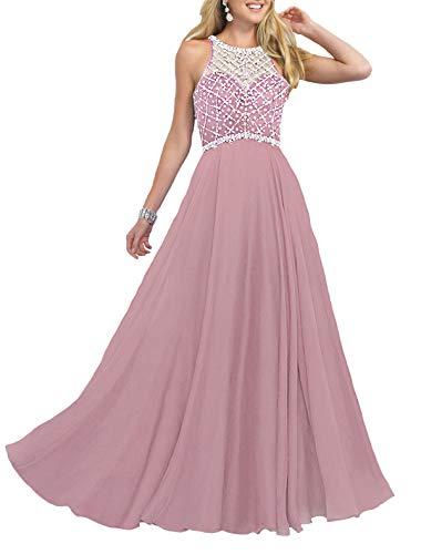 - Firose Women's Long Prom Dresses 2019 Scoop Neckline Beaded A Line Formal Dress Blush Pink 8