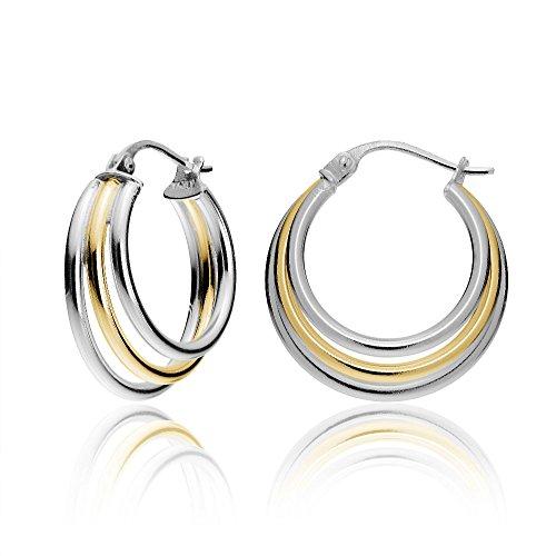 Hoops & Loops Sterling Silver Two-Tone Triple Circle Round-Tube Polished Hoop Earrings, ()