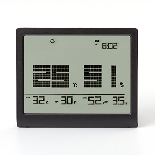 Color Tree Humidity Monitor by Digital indoor Hygrometer - Thermometer - Alarm Clock with LCD Display - Temperature Gauge Humidity Meter for Home or Greenhouse, Basement or Office(Black) by color_tree
