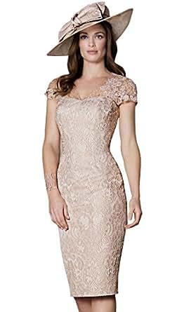 Amazon.com: Newdeve Women Light Champagne Lace Knee Length