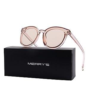 MERRY'S Round Sunglasses for Women Vintage Eyewear S8094 (Brown Lens, 63)