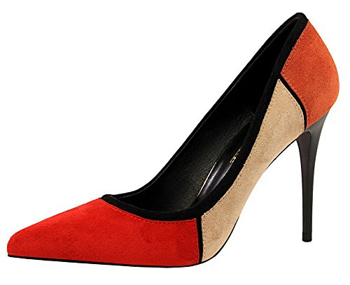 Suede WeenFashion Imitated On Pumps Jacinth Pointed Shoes Toe High Women's Heels Pull rFrnf4H