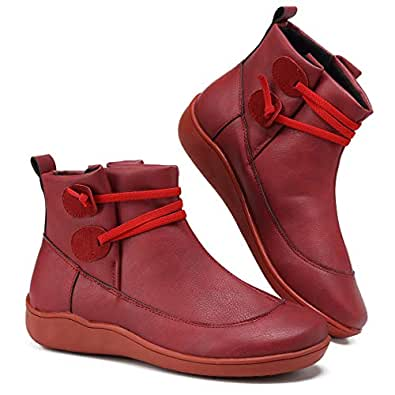 welltree Women's Short Boots Side Zipper Flat Heel Ankle Booties Elastice Slip on Outdoor Winter Shoes Cold Weather Fashion Faux Leather Sneaker for Ladies Female Red2 35 EU