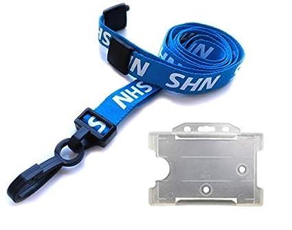 Cordón NHS azul con soporte para tarjeta de identificación y ...