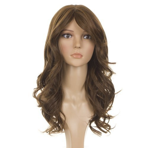 Mid Brown Long Wavy Wig   Human Hair Blend   Side Swept Fringe   Nicole Scherzinger Hairstyle Wig