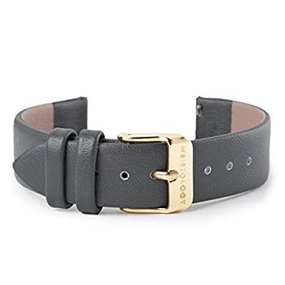 WRISTOLOGY 18mm Womens Charcoal Grey Leather Easy Change Interchangeable Strap Band