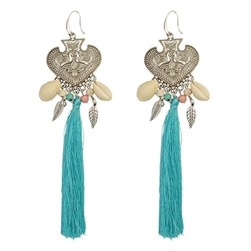 Carved Shell Earrings (Generous Big Long Drop Earrings Beaded Silver Natural Shell Tassel Heart Carved Peacock Leaf Fish Hook Earring (Blue))