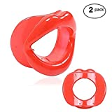 Facial Exercises Eye Wrinkles - Gnker Facial Slimmer Exercise Mouthpiece Trainer Tightener (2 Pack- Red)