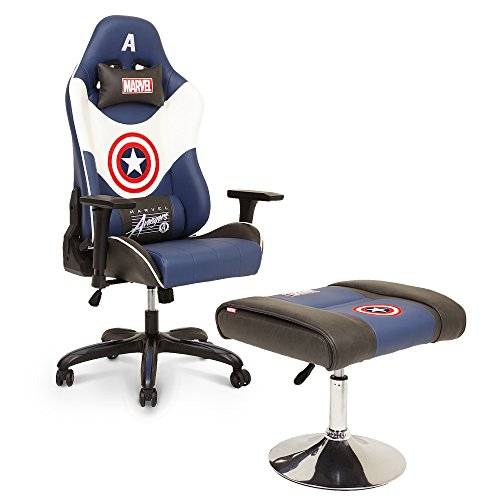 Licensed Marvel Avengers Captain America Superhero Ergonomic High-Back Swivel Racing Style Desk Home Office Executive Computer Video Gaming Chair with Headrest and Lumbar Support, Neo Chair