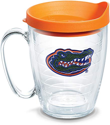 Tervis 1056776 Florida Gators Gator Tumbler with Emblem and Orange Lid 16oz Mug, Clear