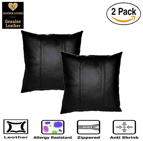 Leather Lovers 100% Lambskin Leather Pillow Cover - Sofa Cushion Case - Decorative Throw Covers for Living Room & Bedroom - 16x16 Inches - Black Pack of 2