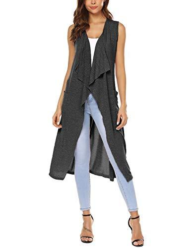 URRU Women's Open Front Sleeveless Long Flyaway Cardigan Vest Dark Gray XL