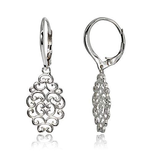 Sterling Silver Polished Filigree Swirl Spiral Dangle Leverback Earrings
