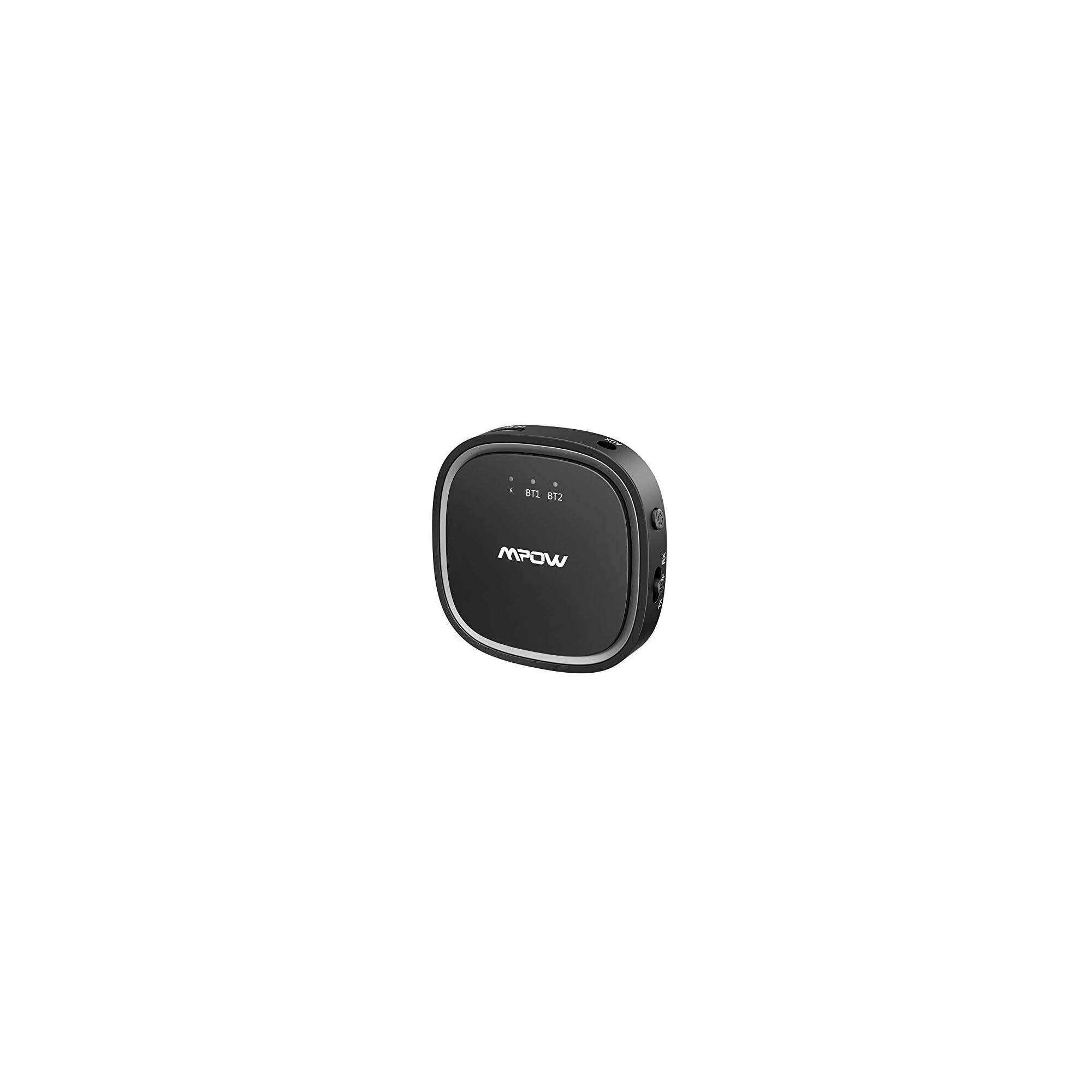 Adaptador de Audio Inal/ámbrico de 3.5 mm con Alcance 15m Adaptador Bluetooth 5.0 2 en 1 con AptX Baja Latencia y AptX HD Reproductor Dual-Conectar para TV Mpow Transmisor y Receptor Bluetooth