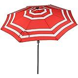 Sunnydaze 9 Foot Outdoor Patio Umbrella with Solar Lights & Tilt/Crank, LED, Red Stripe