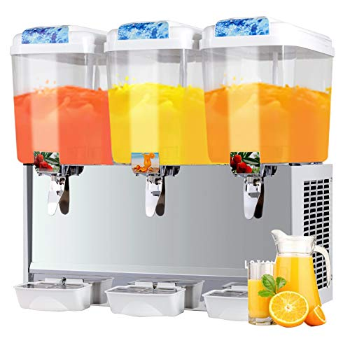 SUNCOO Commercial Juice Dispenser - 14.25 Gallon Cold Beverage Dispenser Temperature Control 380W, 4.75 Gallon Per Tank, 3 Tank with Spigot, Stainless Steel