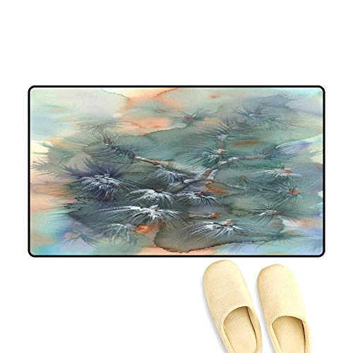 Door Mats for Inside Pine Tree Branches in Snow Watercolor Background