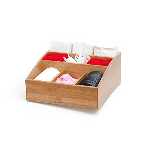 Mind Reader Coffee Condiment and Accessories Caddy Organizer with 9 Organizing Compartments, Bamboo Brown by Mind Reader (Image #6)