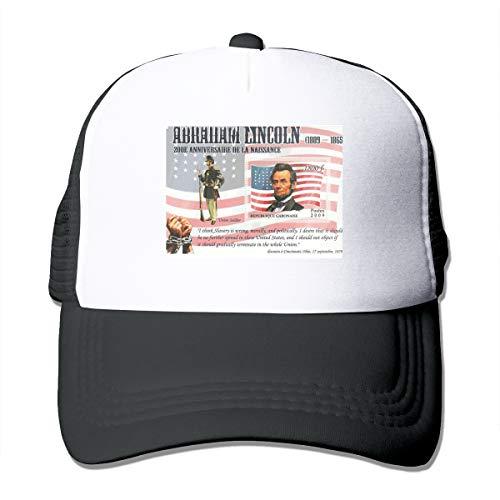 HiPiClothK Unisex Abraham Lincoln Postage Trucker Hats Black