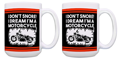 (Motorcyclist Gifts I Don't Snore I Dream I'm a Motorcycle Mug Biker Coffee Mug 2 Pack Gift 15-oz Coffee Cups Tea Cups 15oz Black)