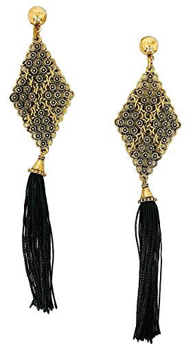 Mina Gold Beaded and Woven Flat Diamond Extra Long 5 Inch Drop Tassel Shoulder Duster Black Earring