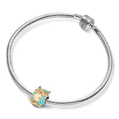GNOCE Abalorio con dise/ño de b/úho de Wise con cristales de plata de ley 925 para pulsera y collar