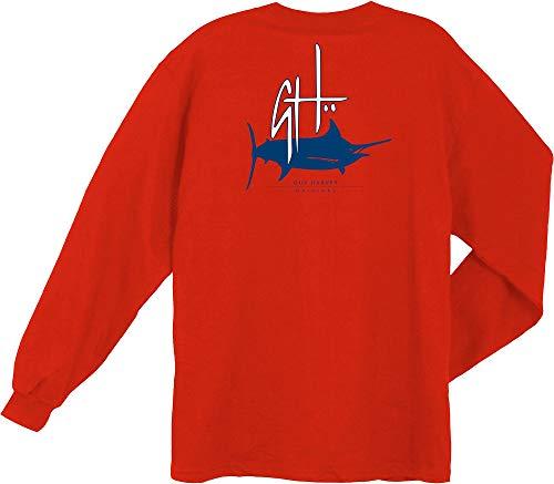 Guy Harvey Mens Initial Logo Long Sleeve T-Shirt Small Red