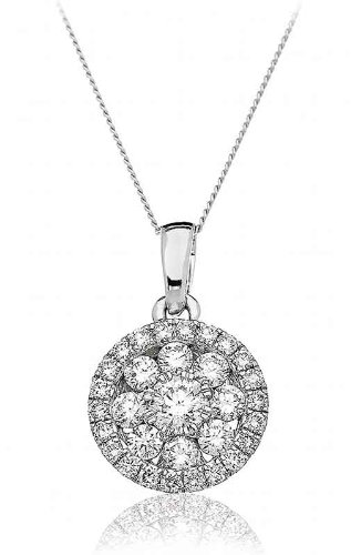 0.70CT Certified G/VS2 Round Cluster Diamond Pendant in 18K White Gold