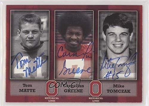 Tom Matte; Cornelius Greene; Mike Tomczak #34/100 (Football Card) 2004-07 TK Legacy Ohio State Buckeyes - Historical Links Autographs #HL2 from TK Legacy Ohio State Buckeyes