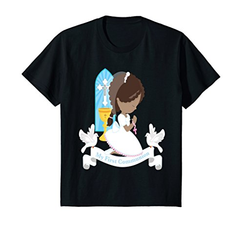 Kids My First Communion Shirt Gift Girl Daughter African American 10 (African American Gift)